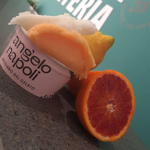 Gelateria Angelo Napoli - sorbetto arancia rossa e sfusato amalfitano