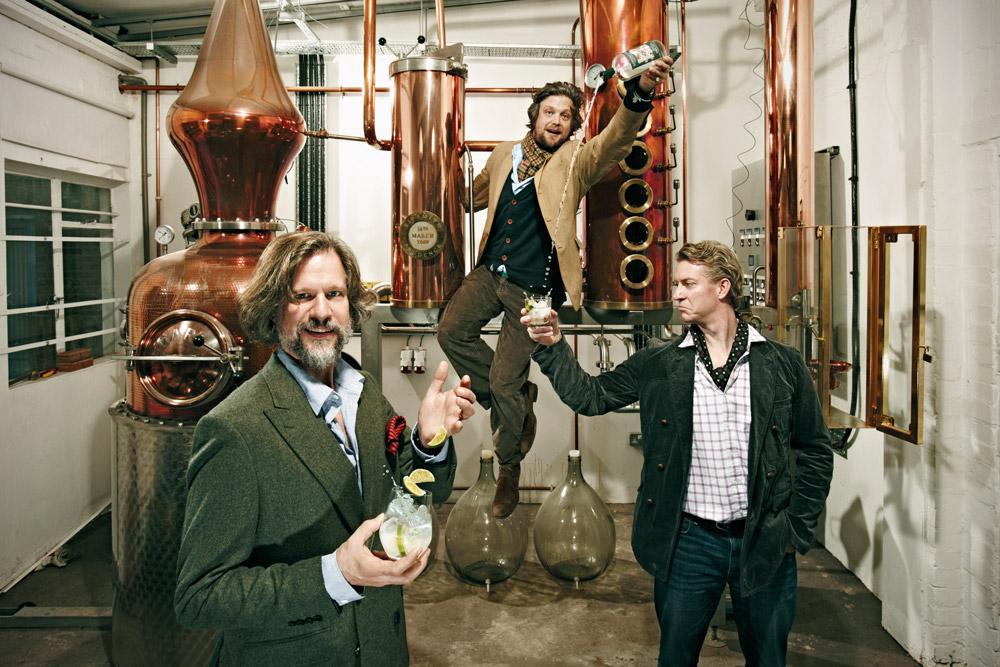 Sipsmith Gin i tre fondatori Jared Brown, Fairfax Hall e Sam Galsworthy