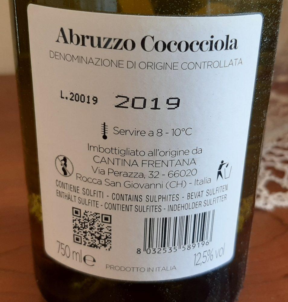 Controetichetta Costa del Mulino Abruzzo Cococciola Doc 2019 Cantina Frentana