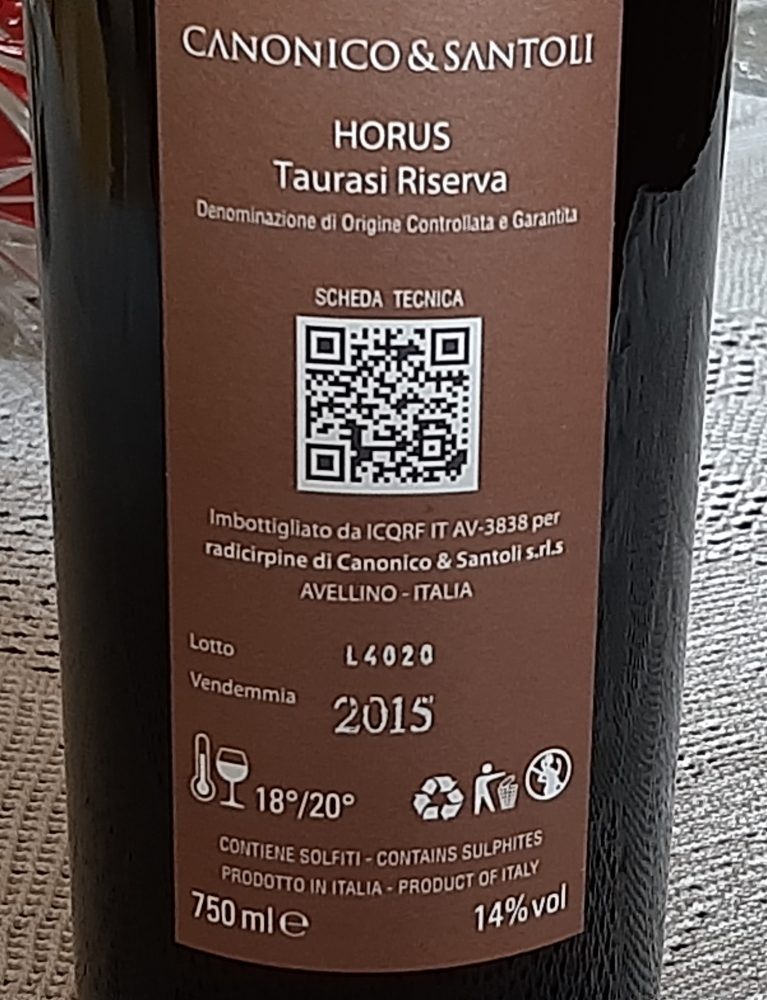 Controetichetta Horus Taurasi Riserva Docg 2015 Canonino & Santoli