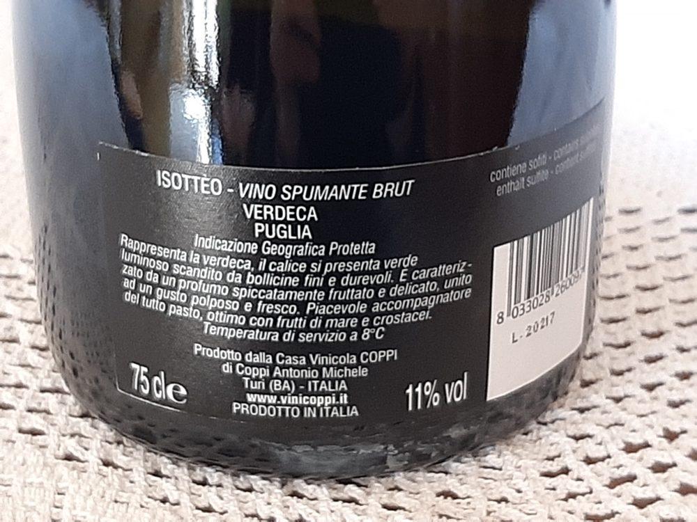 Controetichetta Isotteo Spumante Verdeca Puglia Igp Coppi