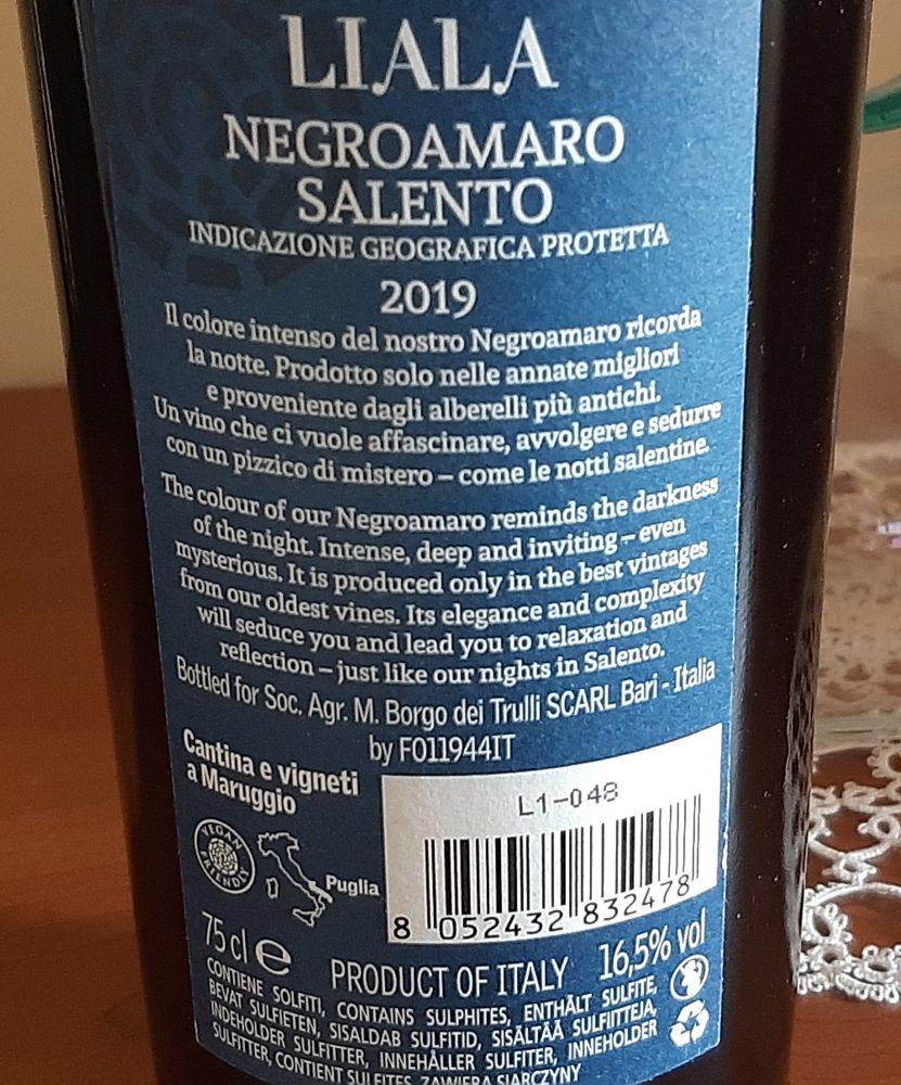Controetichetta Liala Negroamaro Salento Igp 2019 Masseria Borgo dei Trulli