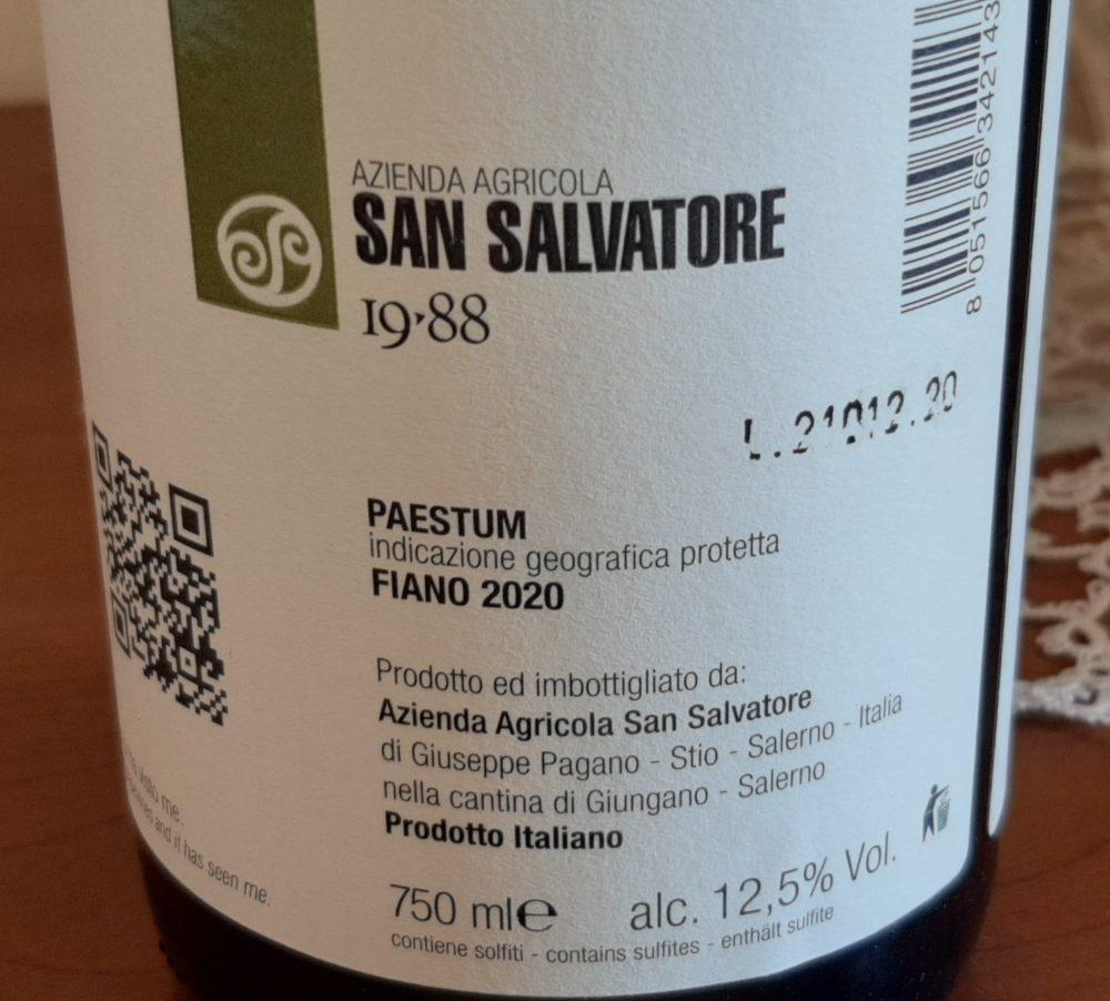 Controetichetta Trentenare Fiano Paestum Igp 2020 San Salvatore