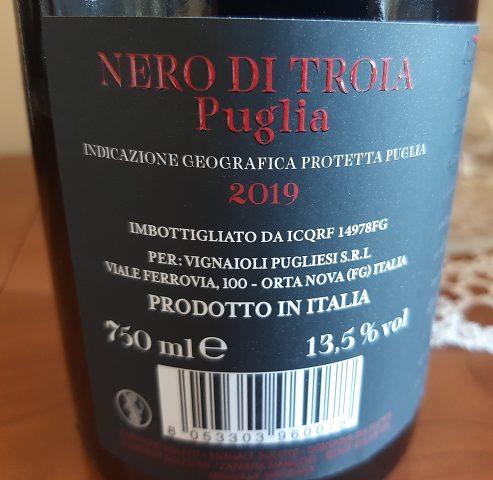 Controetichetta Versure 105 Nero di Troia Puglia Igp Vignaioli Pugliesi 2019