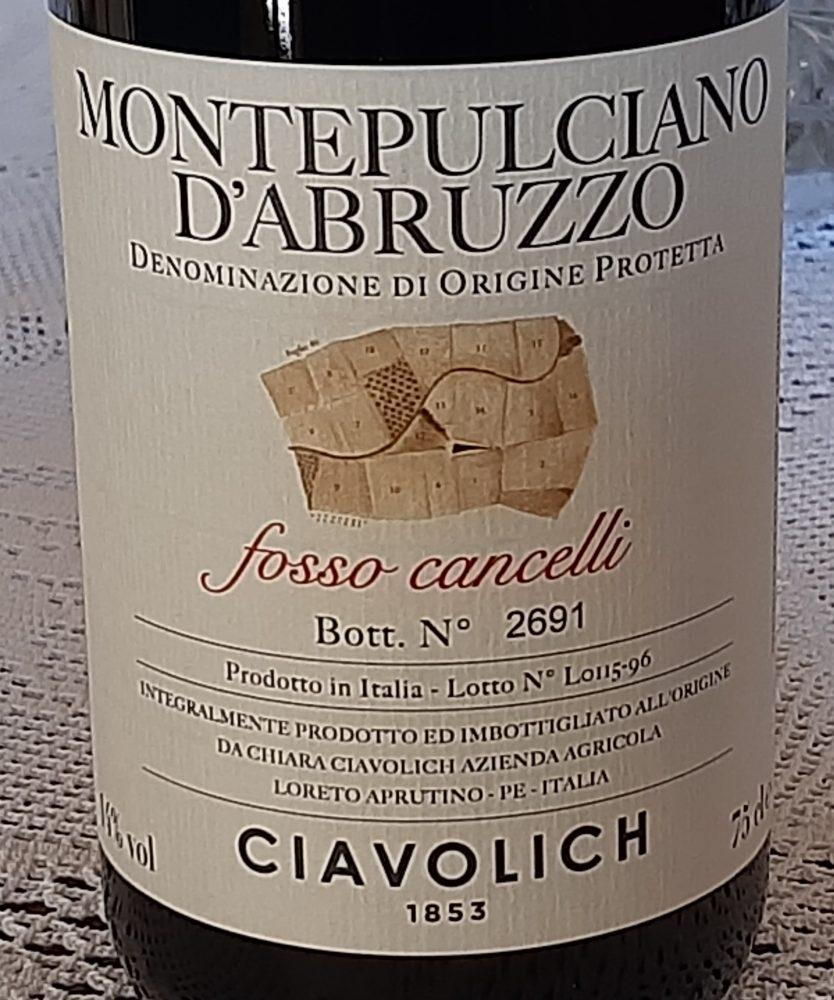 Montepulciano d'Abruzzo Fosso Cancelli Dop 2015 Ciavolich 1853