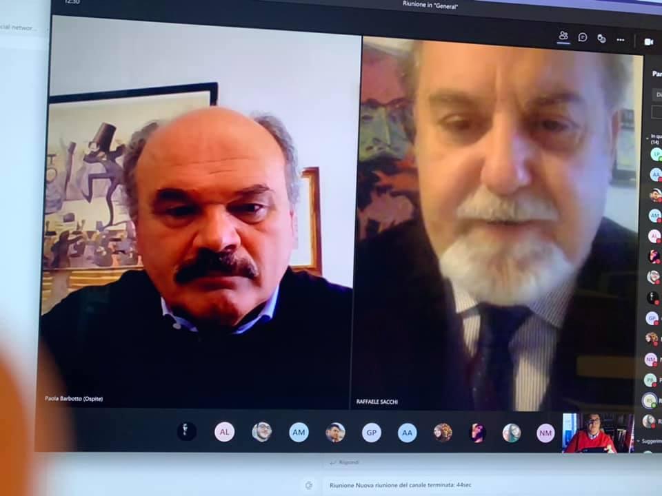 Oscar Farinetti e il direttore del Corso di Scienze Gastronomiche Mediterranee Raffaele Sacchi