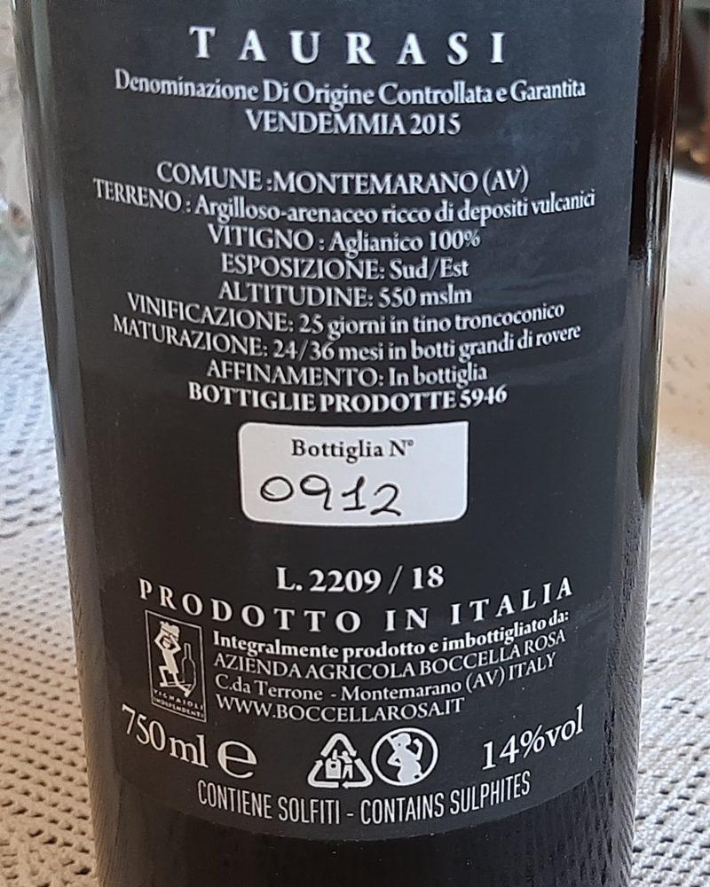 Controetichetta Taurasi Docg 2015 Boccella Rosa