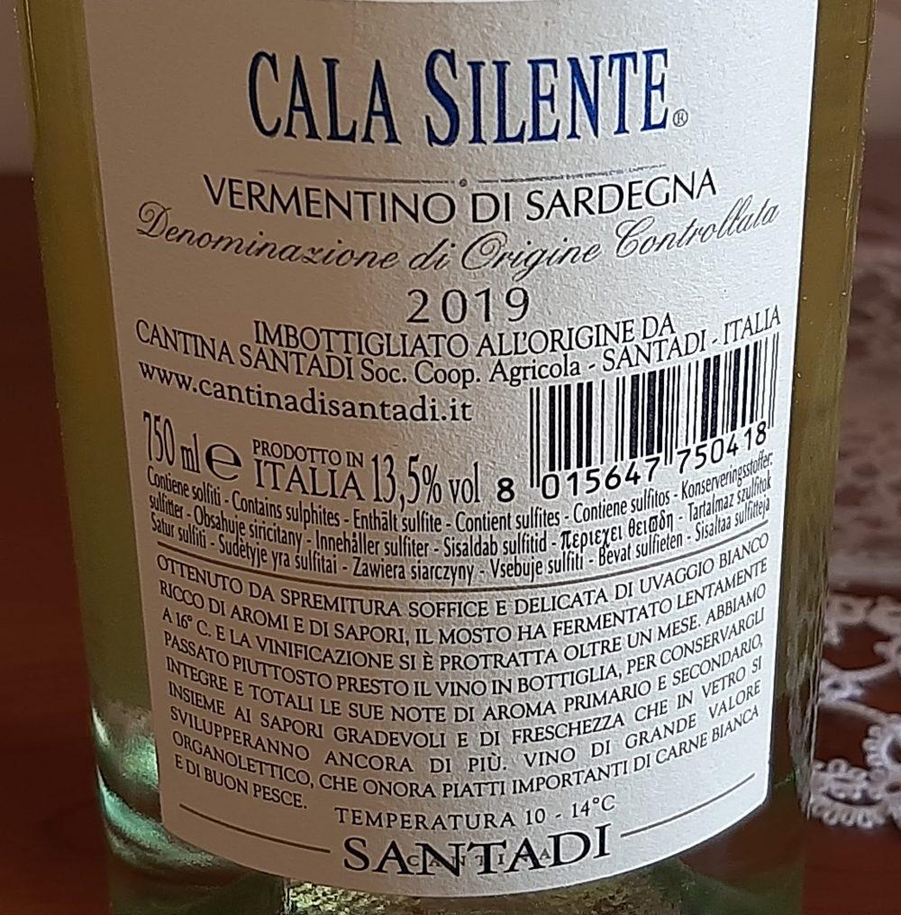 Controetichetta Vermentino di Sardegna Doc 2019 Santadi