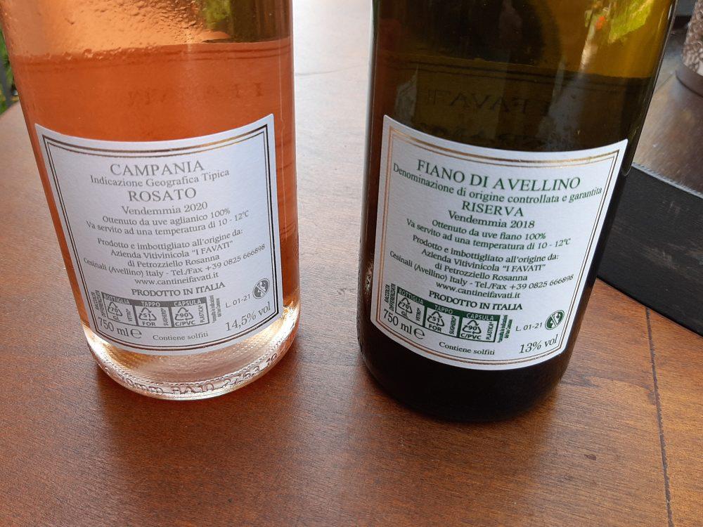I Favati controetichette vini assaggiati