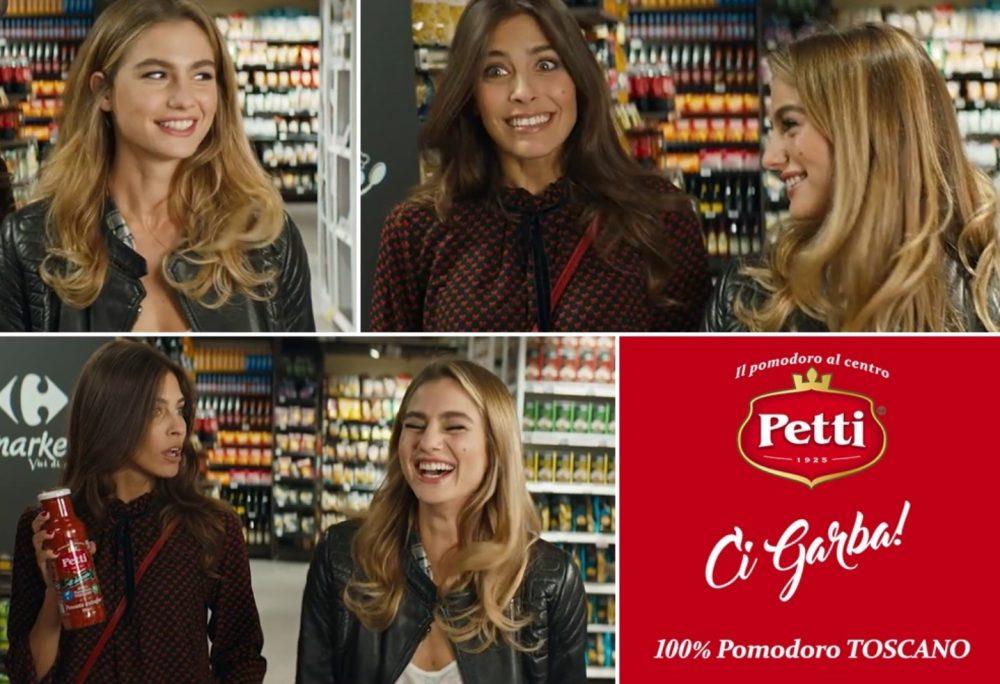 La pubblicità di Petti e del suo pomodro toscano con le modelle