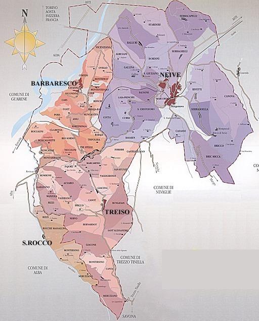 Italia - Piemonte - Langhe -Barbaresco mappa