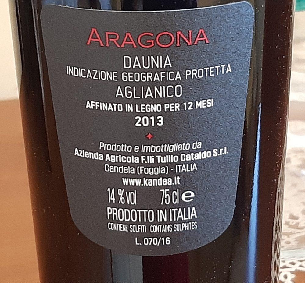 Controetichetta Aragona Aglianico Daunia Igp 2013 Kandea