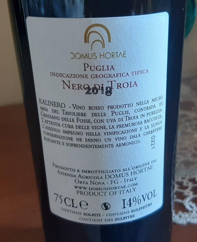 Controetichetta Kalinero Nero di Troia Puglia Igt 2018 Domus Hortae
