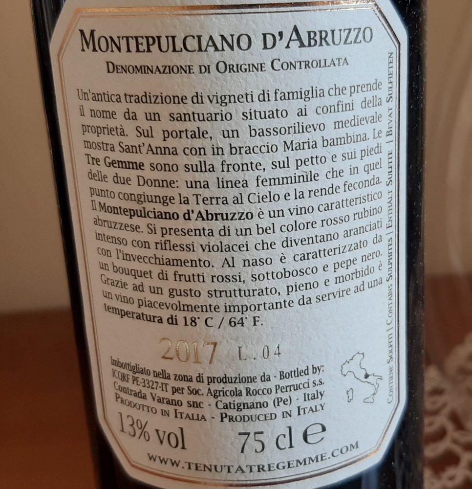 Controetichetta Montepulciano d'Abruzzo Doc 2017 Tenuta Tre Gemme