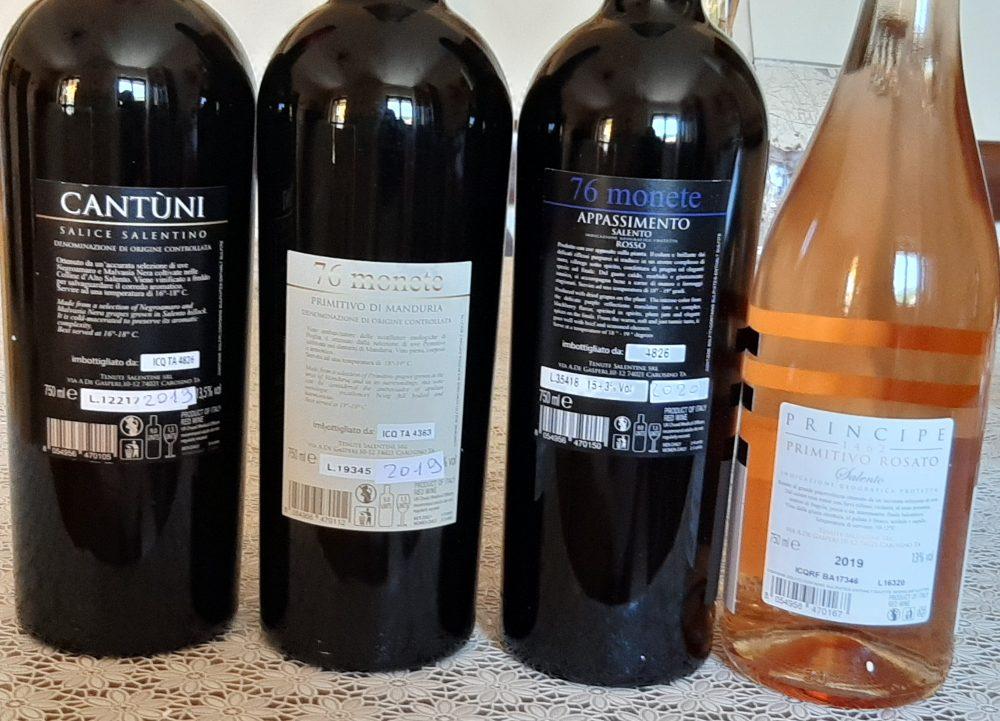 Controetichette vini Tenute Salentine