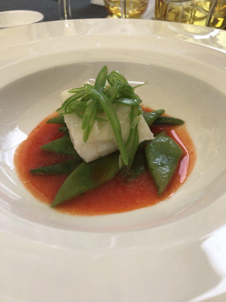 Locanda Petreja - Baccala' e lardo di porco cinturello orvietano, taccole alla santoreggia e salsa di peperoni rossi