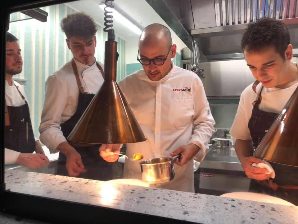 Ristorante Acquamarina, Chef Salvatore Morello con una parte della brigata