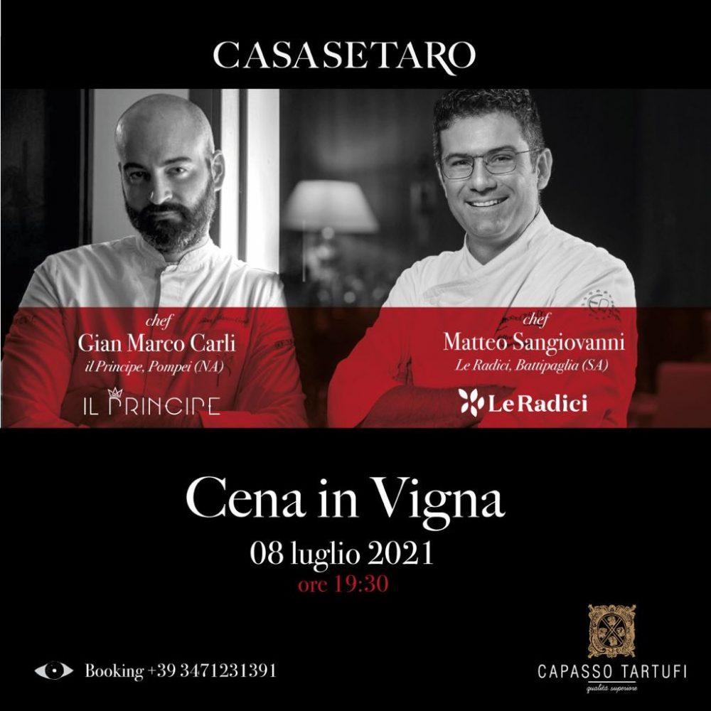 Cena in vigna a Casa Setaro con chef Carli e Sangiovanni