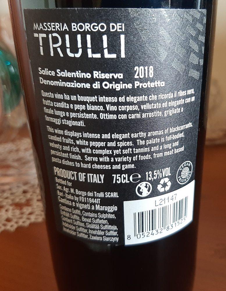 Controetichetta Salice Riserva Salentino Dop 2018 Masseria Borgo dei Trulli