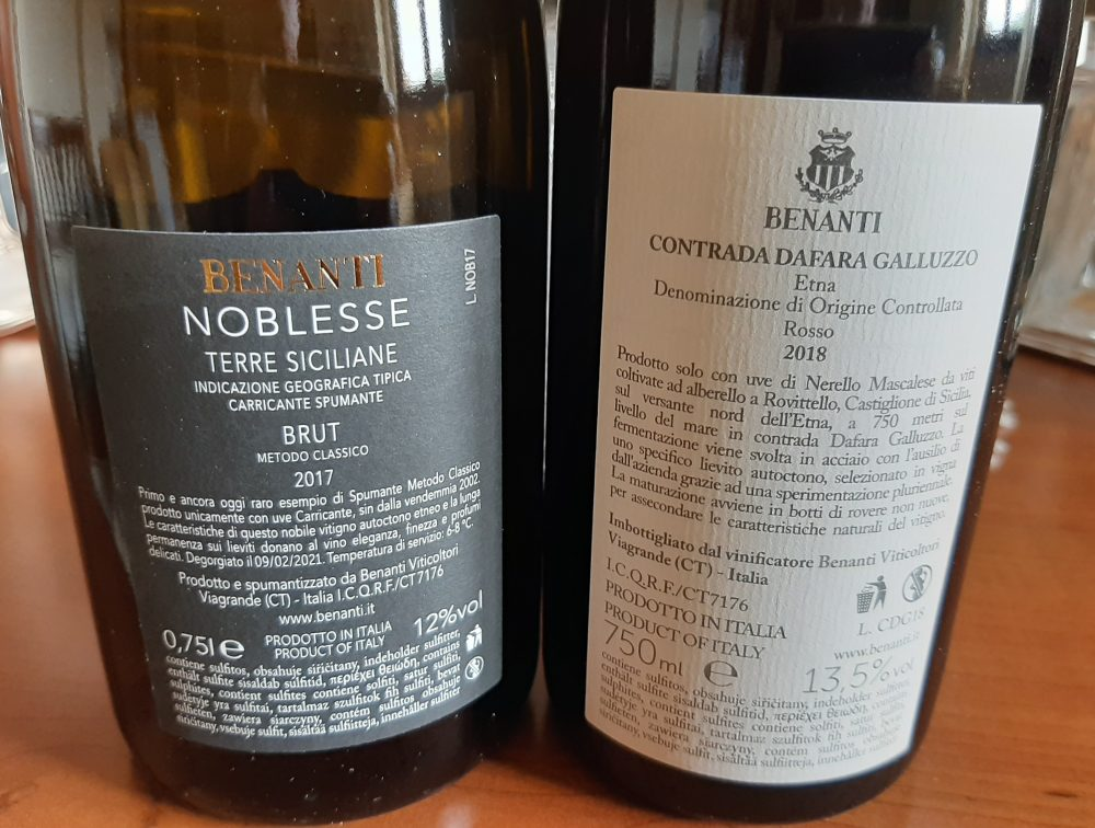 Controetichette vini Benanti