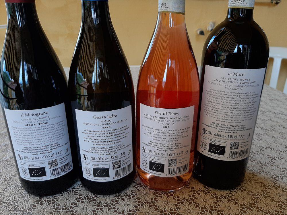 Controetichette vini Santa Lucia