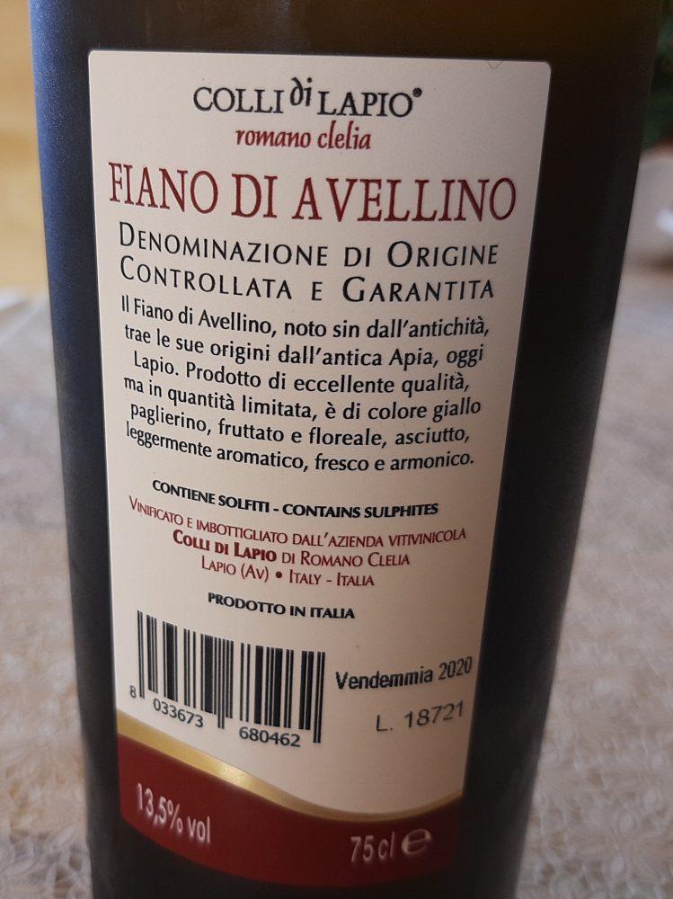 Controetichetta Fiano di Avellino Colli di Lapio Docg 2020 Clelia Romano
