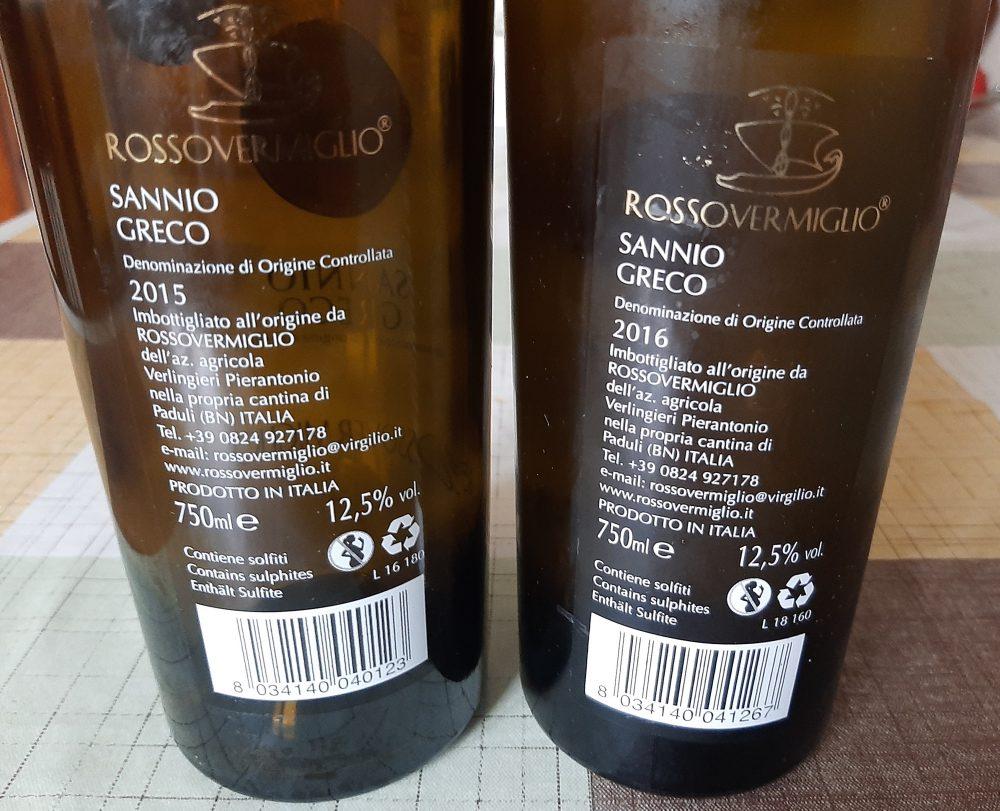 Controetichette Vini Sannio Greco Rossovermiglio