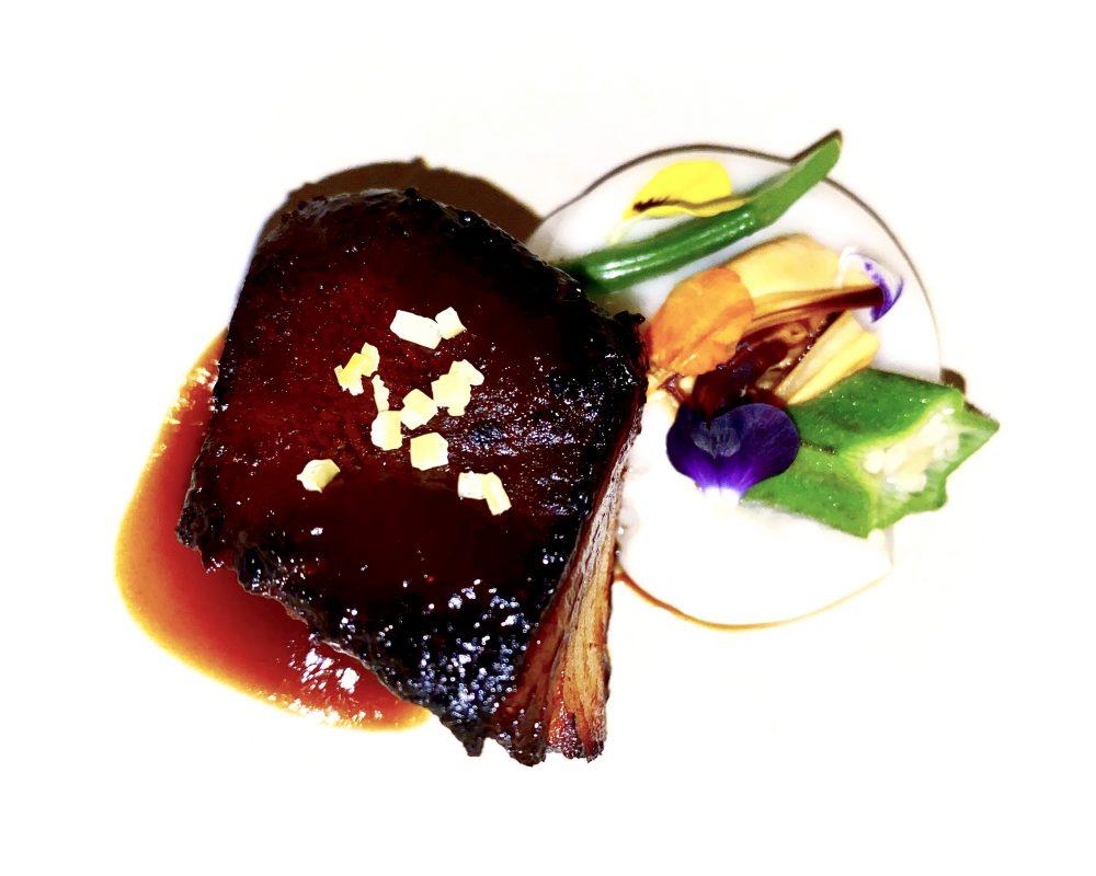 Gong, Black Cod laccato, spuma di cozze e limone salato