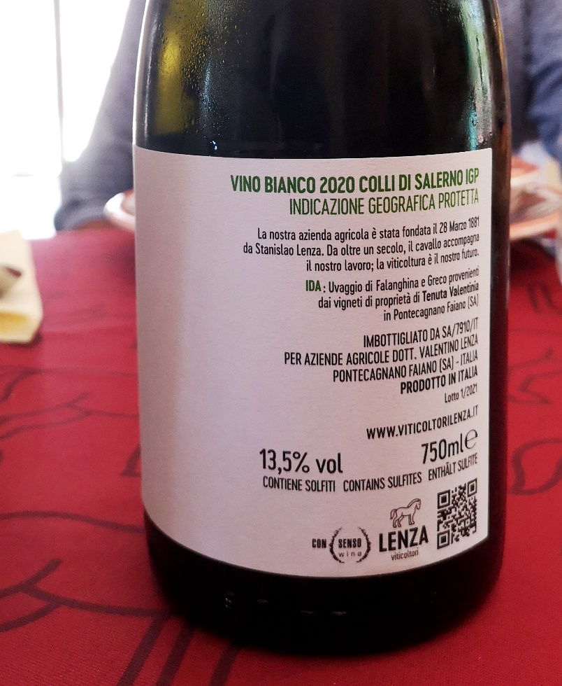 Colli di Salerno Bianco Ida 2020, Viticoltori Lenza retro