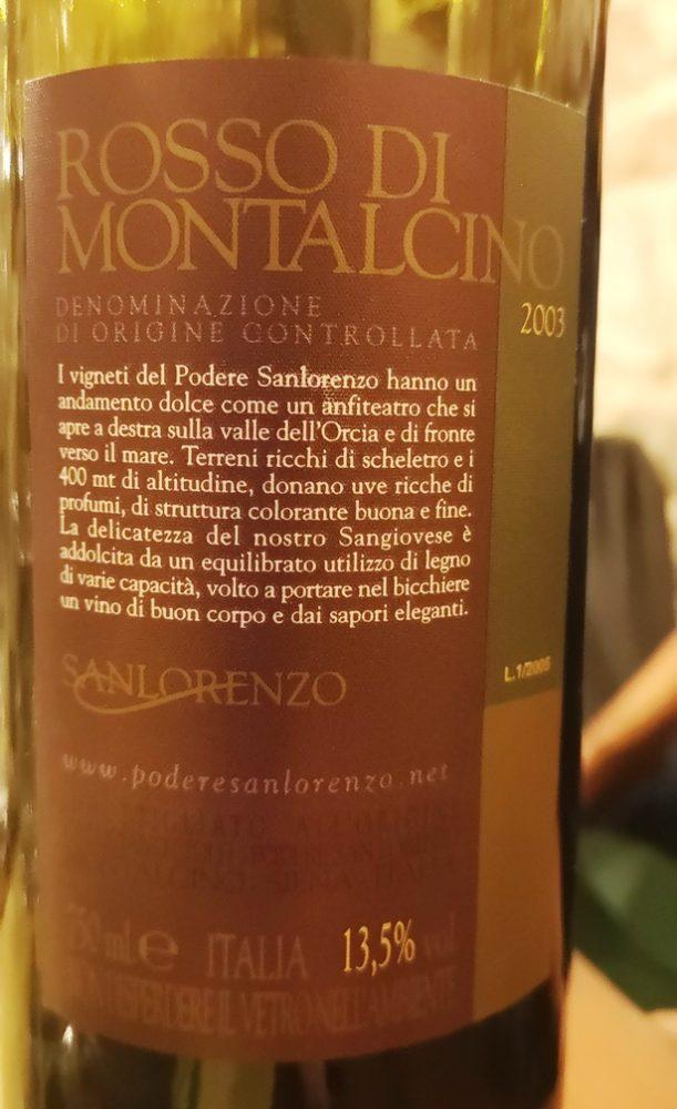 Rosso di Montalcino 2003 San Lorenzo -  retro